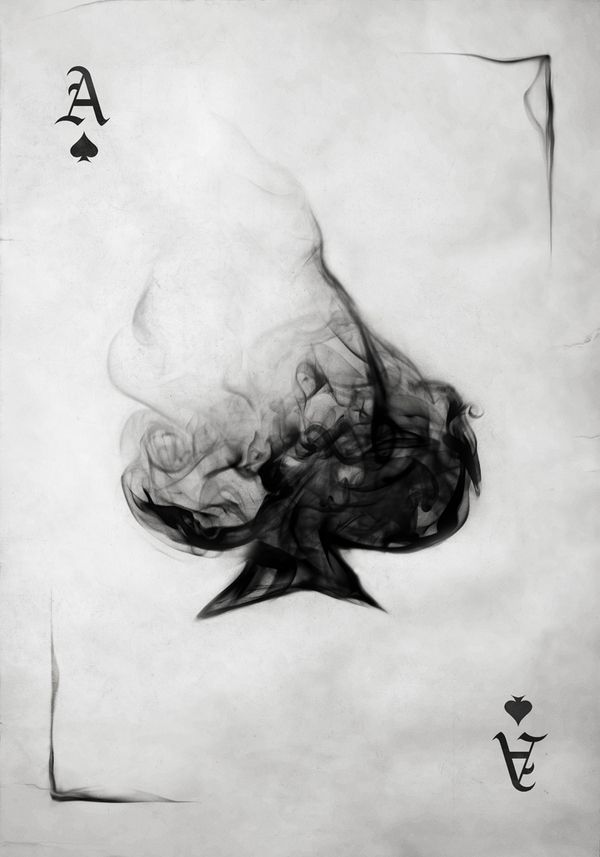 Smoking Ace Of Spade Playing Card Poster  |  Artist:  Mirco Zett, Aschaffenburg, Germany  |  via:  behance.net