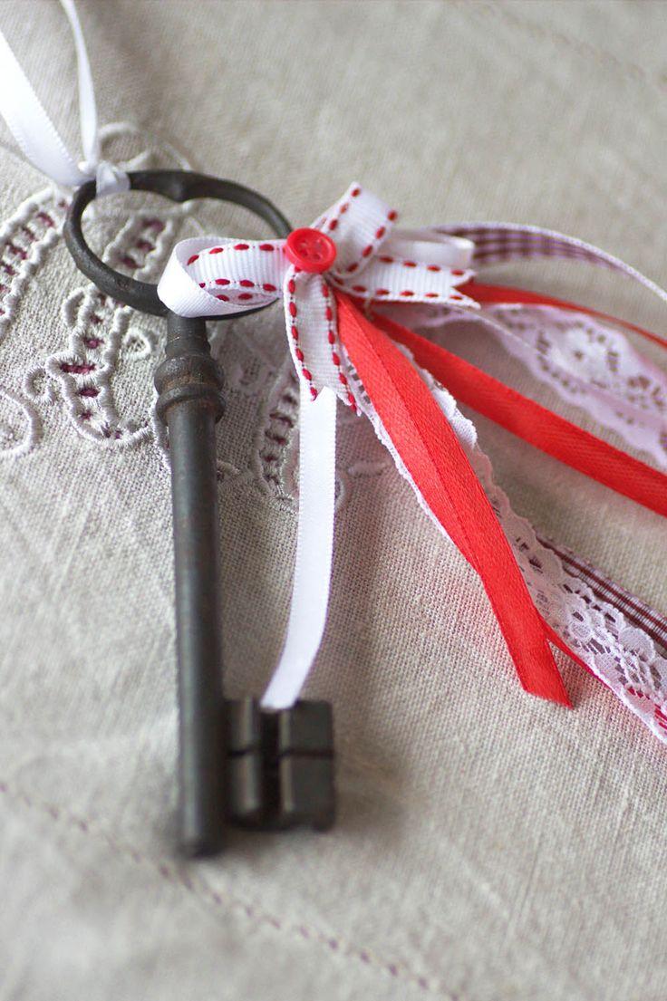ancienne grande cl romantique bijou de porte ou poser esprit shabby chic lin ruban et. Black Bedroom Furniture Sets. Home Design Ideas