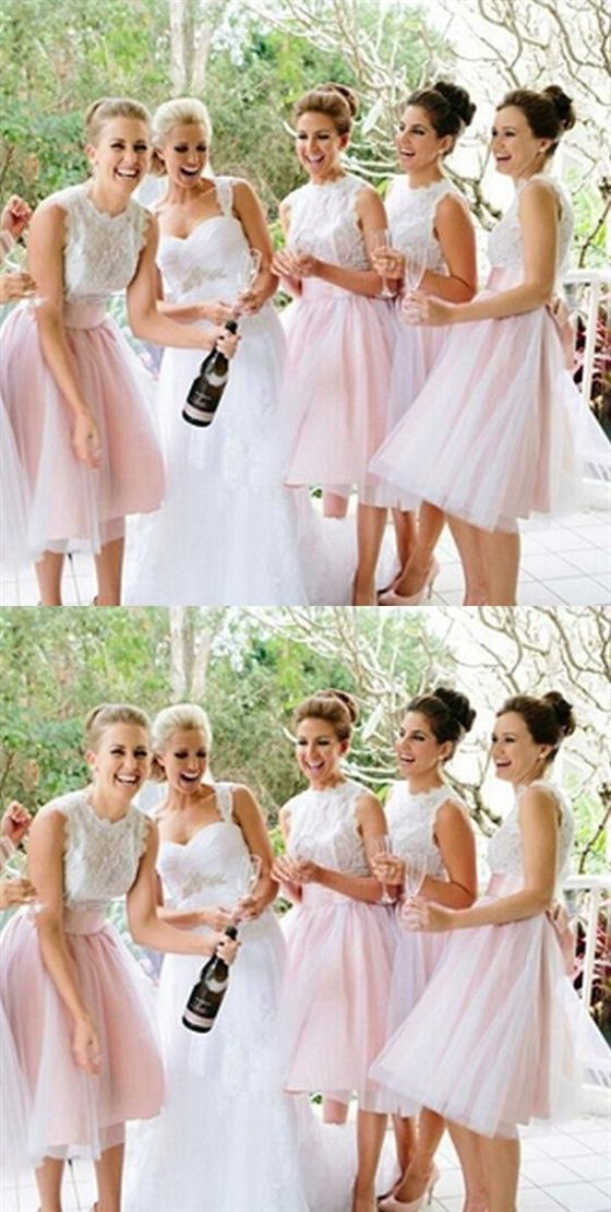Cute Blush Pink A-Line Sleeveless Empire Waist Lace Bridesmaid Dresses Evening Dresses