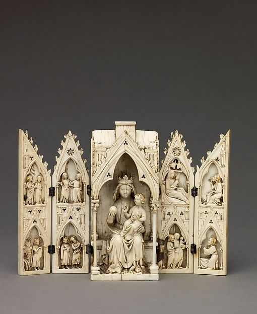 Tabernacle Polyptych with the Madonna and Child and Scenes from the Life of Christ. Date: ca. 1275–1300 Culture: Northern France (?) Medium: Ivory with traces of original gilding and polychromy; silver hinges.