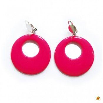 Ohrringe rund pink, Schmuck 90er Jahre kaufen
