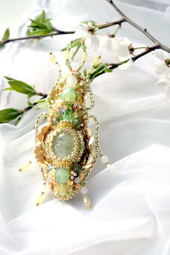 2015 trends Aquamarine mint green custard beetle brooch gift for her insect jewelry unique, spring weddings summer, gift for bride