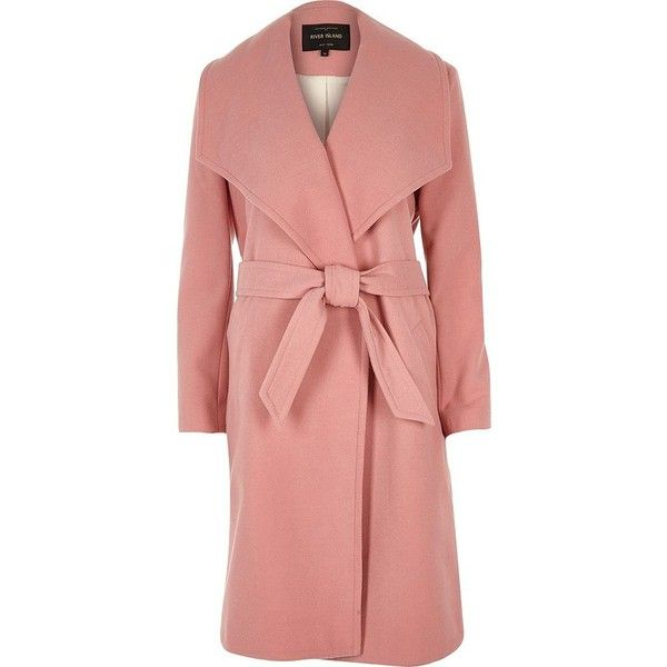 River Island Pink robe coat found on Polyvore featuring outerwear, coats, coats / jackets, pink, women, collar coat, long sleeve coat, pink coat, river island and red coat