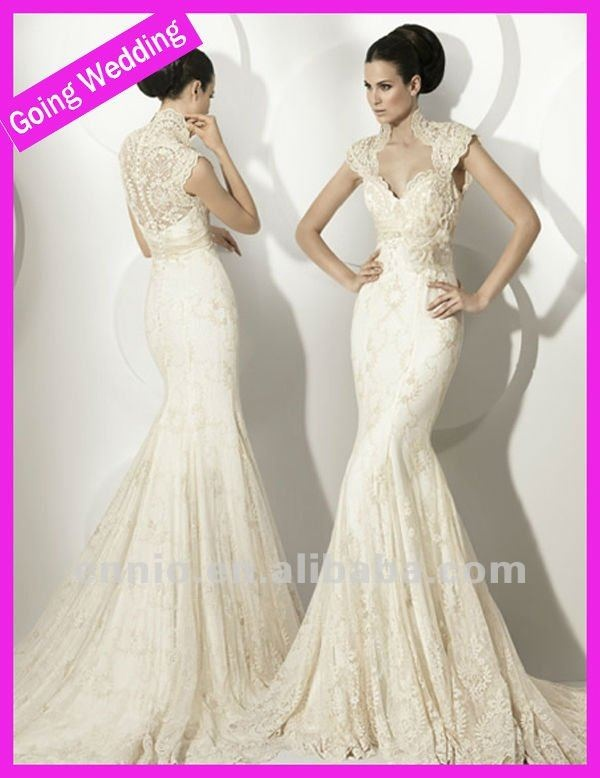 2013 High Neck Mermaid Lace Wedding Dress With Sleeves
