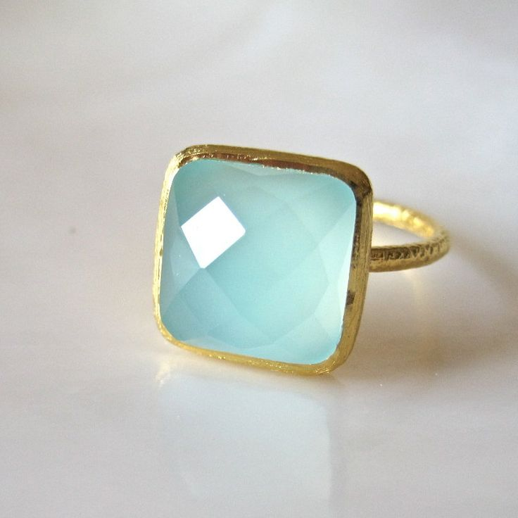 Gold Vermeil Aqua Chalcedony Ring ~ gorgeous color