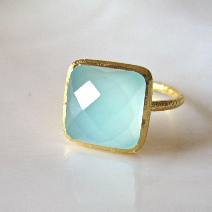 Aqua Chalcedony Ring.