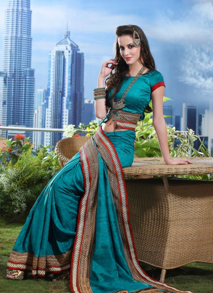 Magnificient Teal Blue Embroidered #Saree With Awesome #Pallu