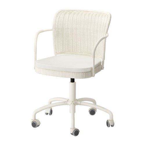 IKEA - GREGOR, Swivel chair, Vittaryd white,  , , You sit comfortably since the chair is adjustable in height.The castors are rubber coated to run smoothly on any type of floor.