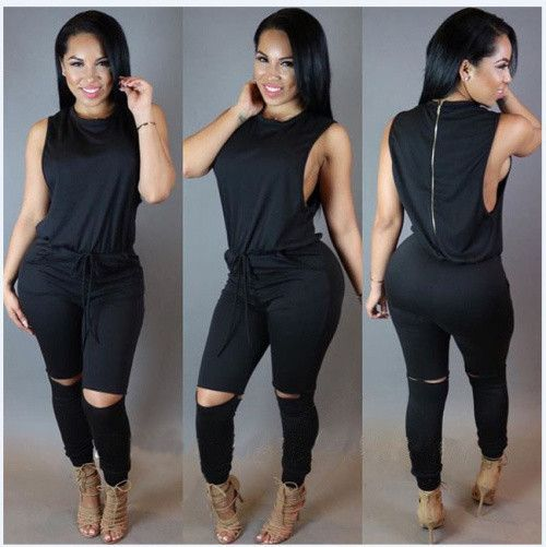 Europe and United States 2016 New design top Sexy night club bodycon jumpsuit summer sleeveless long jumpsuit overalls for women