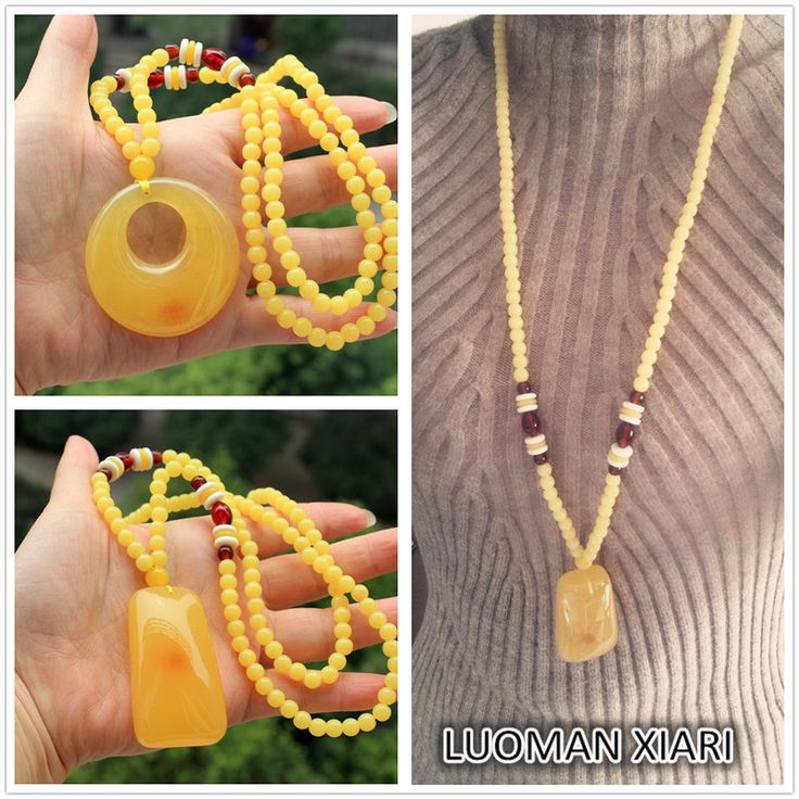Wholesale  1 PCS 6 Type AAA+ Imitation Amber Necklace Fashion Bohemia Style Long Beads Plastic Resin Beads Necklace For Women