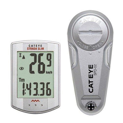 CatEye Strada Slim Wireless Cycling Computer Silver, One Size. Altimeter: no. Heart Rate Monitor: yes, chest strap sold separately. Speedometer Functions: current speed, average speed, maximum speed. Chronograph: no. Sensor: Slim Sensor.