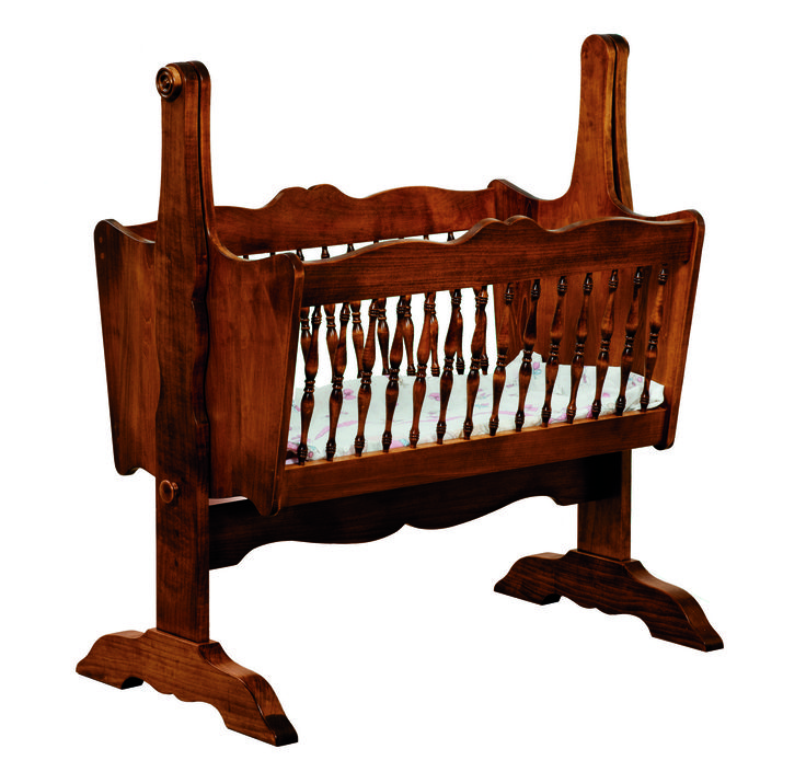 The Classic Baby Cradle features curves and rounded edges to give your room a more traditional appeal. It is a very strong, very durable, and very well-made piece that will hold even the most rambunctious of toddlers. Gently rock your young one to sleep in this solid hardwood, very appealing furniture.