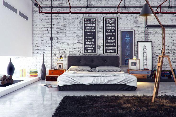 Camera da letto in stile industriale 12