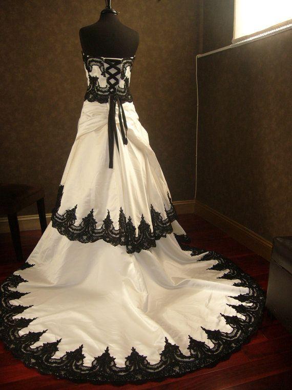 Stunning Black and White Wedding Dress by WeddingDressFantasy.com