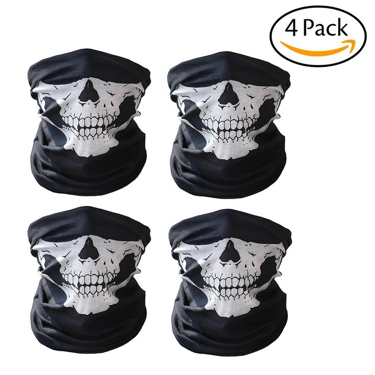 StaiBC 4 Pack Seamless Skull Face Tube Mask Motorcycle Face Mask Outdoor Mask Sport Headwear for Cycling, Hiking, Camping, Climbing, Fishing, Hunting, Motorcycling,Camping