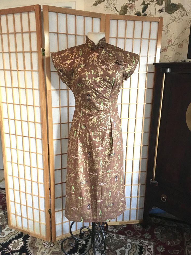 Vintage 50er Jahre Hawaiian Cheongsam Kleid in von calivintage54