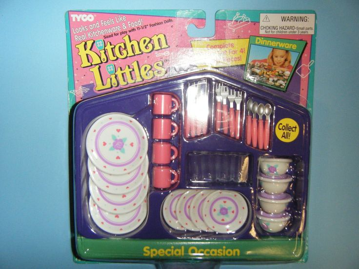 Kitchen Littles by Tyco Special Occasion Dinnerware Set with Floral Pattern, 1990's - I have this set.