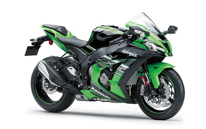 Download imagens A Kawasaki Ninja ZX-10R, 2017, Motocicleta esportiva, motos de corrida, Japonês motocicletas, Kawasaki