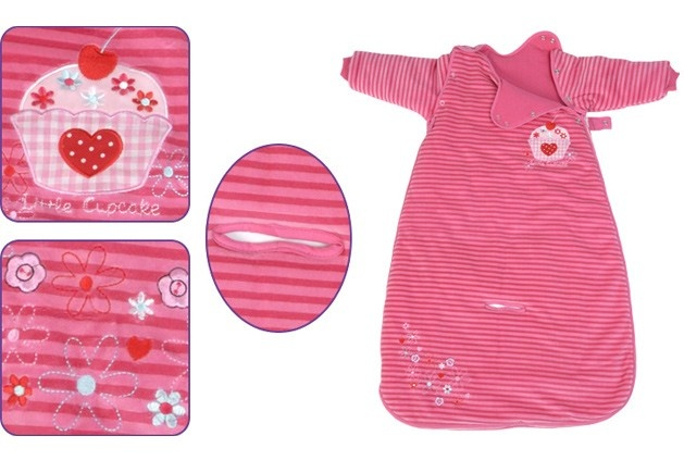 Our Cupcake travel baby sleeping bag is a vivid pink striped soft velour travel sleeping bag with removable arms. This item is very handy if your child falls asleep whilst out and about in the car, pushchair or a buggy, as they can be kept warm and snuggly.The arms can be removed using the poppers placed around the top of the arm, meaning that your child can be transferred to a cot with no need to wake! Our easy L shape zip also enables easy nappy changes.THE SLEEVES S...