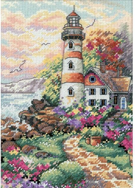 Dimensions Beacon at Daybreak - Cross Stitch Kit. An impressive lighthouse stands against a new dawn in this colorful counted cross stitch design. This coastlin