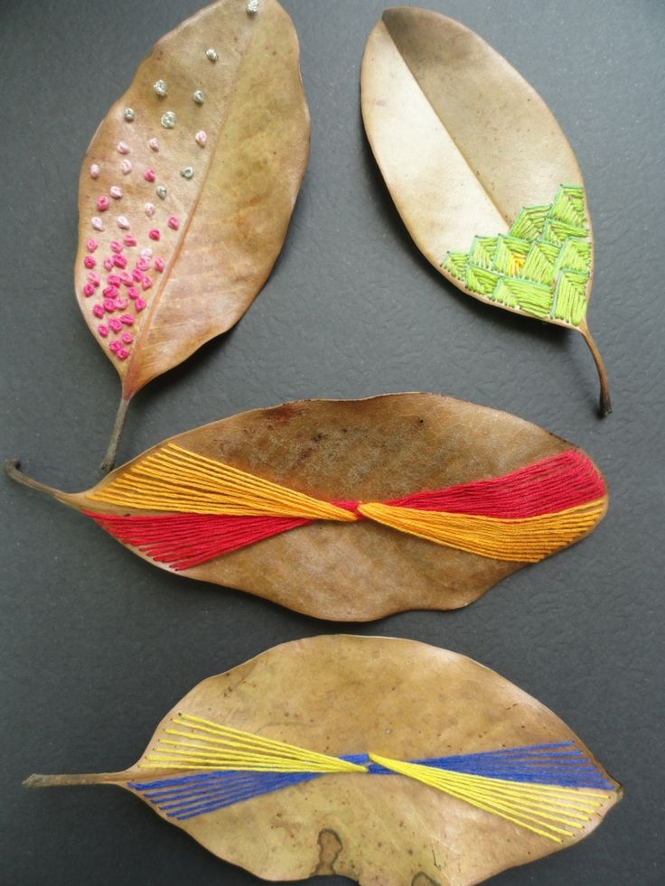 Embroidery on magnolia leaves by laura hennighausen