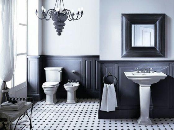 salle de bain élégante en noir et blanc