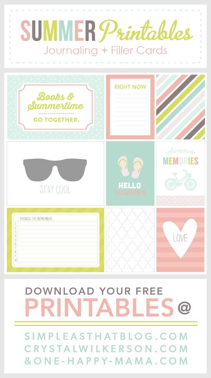 Free Printable Summer Journal and Filler Cards
