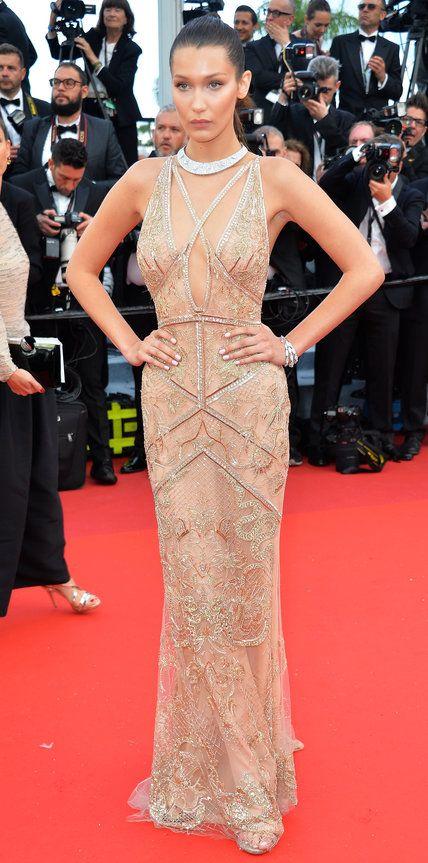 2016 Cannes Film Festival: Bella Hadid in Roberto Cavalli with de Grisogono jewels.