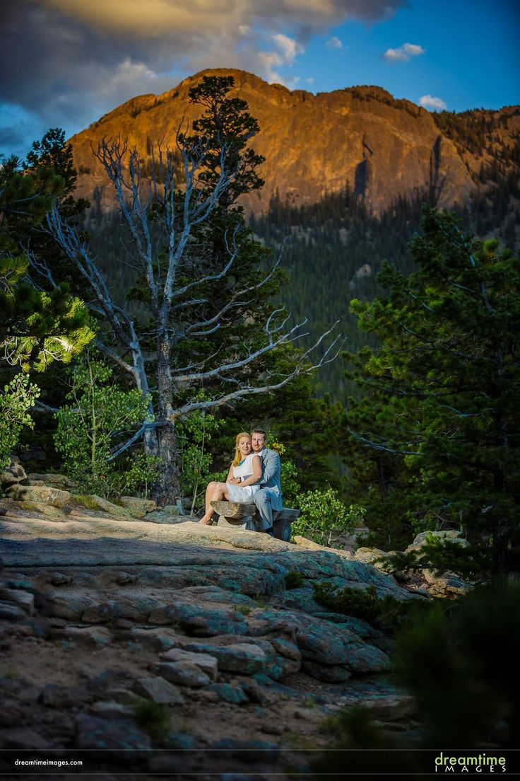 A wedding portrait below the iconic Twin Sisters in Estes Park