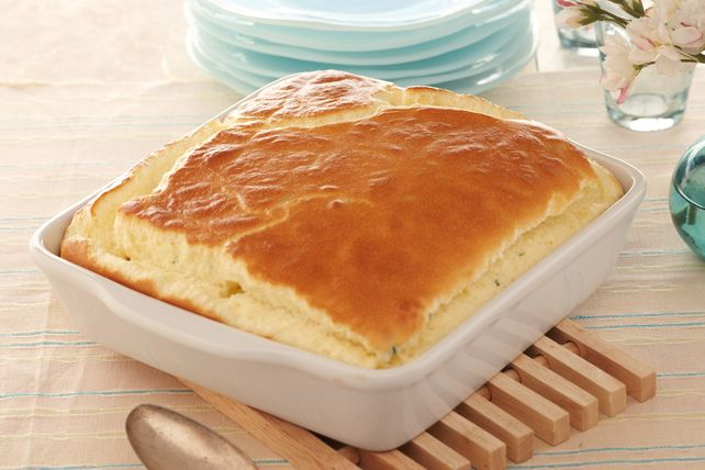 Cheesy Buttery Puff - Six simple ingredients blend and melt and puff up into an airy, delicious side. Be sure and serve it hot.