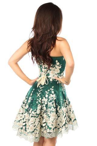 dark green floral steel boned corset dress  short green
