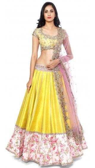 Anushree Reddy's Yellow Raw Silk Lengha Set - JIVA