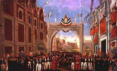 Army of the Three Guarantees enters Mexico city on September 27, 1821. Description from medlibrary.org. I searched for this on bing.com/images