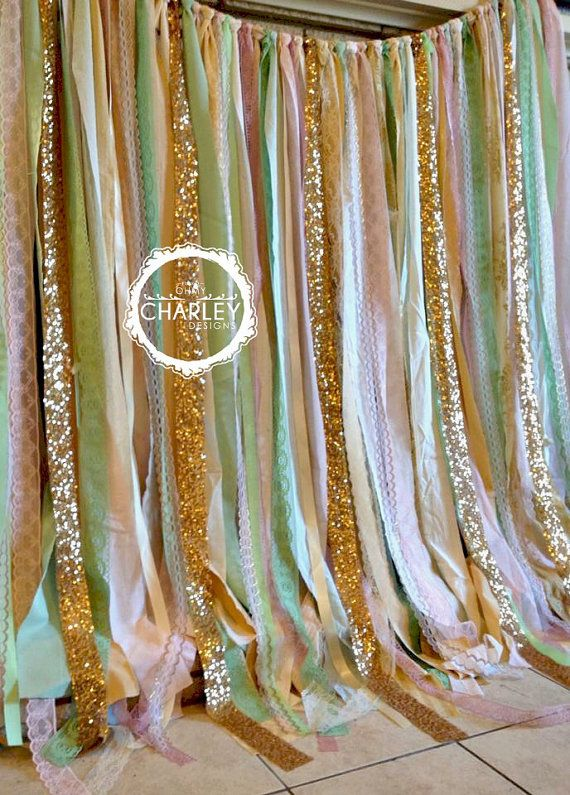 Pink Mint Gold Sparkle Sequin Fabric Backdrop with Lace - Wedding Garland, Photo Prop, Curtain, Baby Shower, Crib Garland