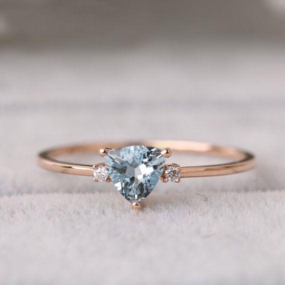Ausverkauf Trillion-Schliff Aquamarin Ring aus massivem 18 k