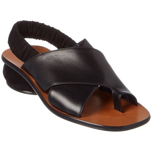 Celine Celine Leather Slingback Sandal | Bluefly.Com (€675) ❤ liked on Polyvore featuring shoes, sandals, black, slingback sandals, mid-heel sandals, slingback shoes, black slingbacks and black leather sandals