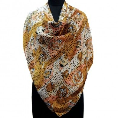 Animal Print Scarf Satin Silk Beach Cover-Up New Neck Wrap Women Mustard Sarong