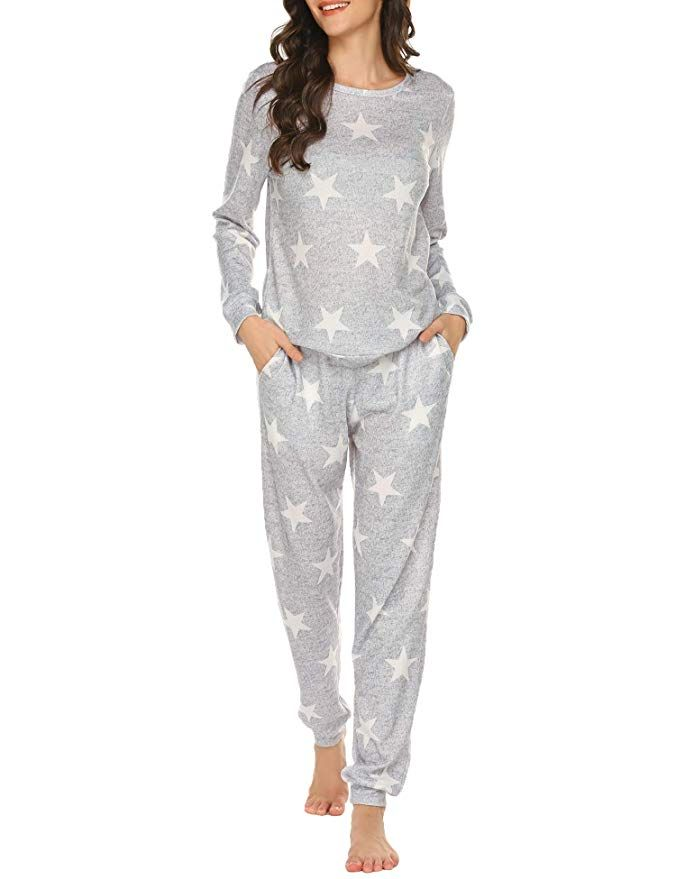 Ekouaer Womens Pajamas Set Long Sleeve Raglan Shirt and Pants Pj Lounge Set Print Sleepwear