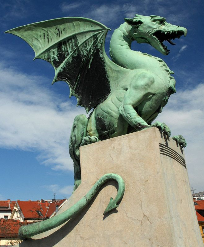Dragon sculpture, Ljubljana, Slovenia  The dragon is the symbol of the city, based on the legend of St. George and the Dragon.