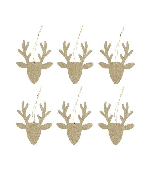 6-pak houten kersthangers - HEMA
