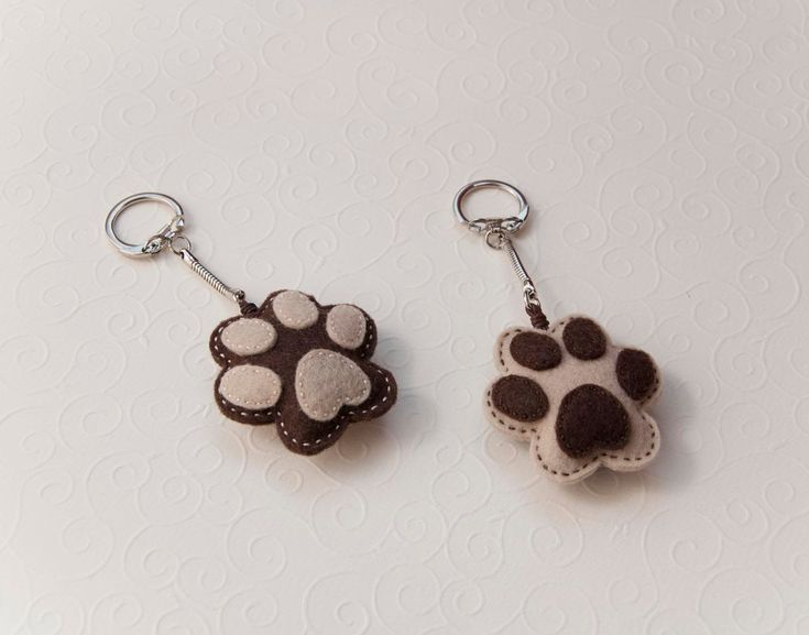 Felt dog paw - key chain pendant. $12.00, via Etsy.