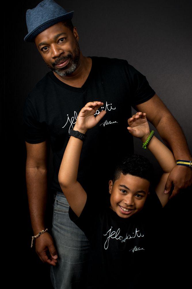 The v-neck for men and the tee for kids. Photo: Naskademini Make-up: Mindy Shear