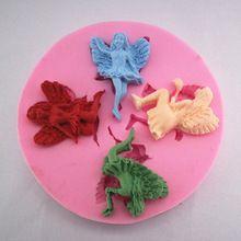 4 мини красивый цветок фея ангел торт в форме украшения форма шоколадные конфеты желе 3d формы мультфильм рисунок инструменты(China (Mainland))