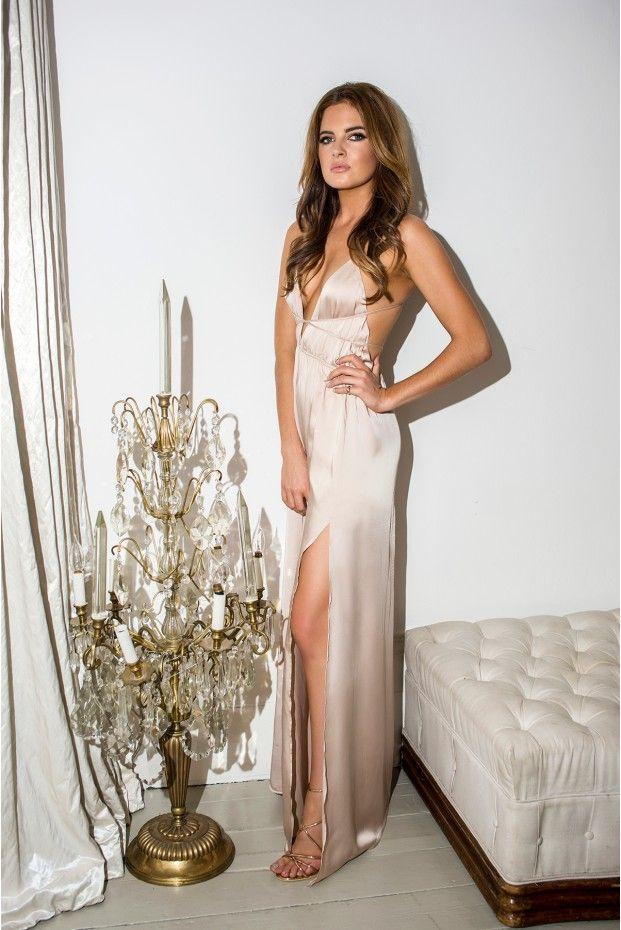 Binky White Gold Satin Plunge Wrap Maxi Dress