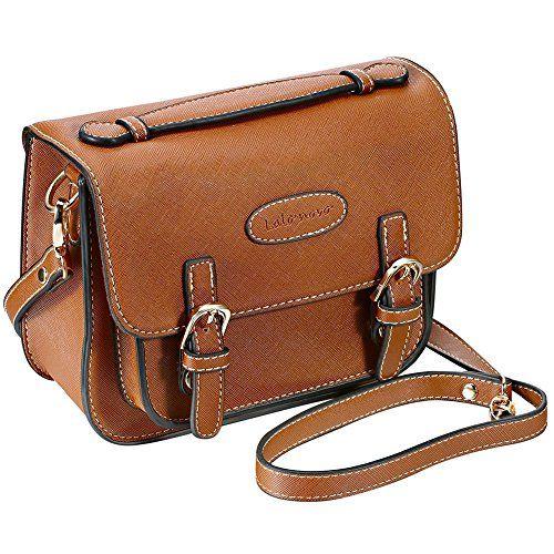 Mini 8 Instant Camera Accessories Case - Lalonovo Retro Vintage PU Leather Bag for Fujifilm Instax Mini 8/ Mini 7s/ Mini 25/ Mini 50s/ Mini 90/ Instant Film Camera with Shoulder Strap (Brown)