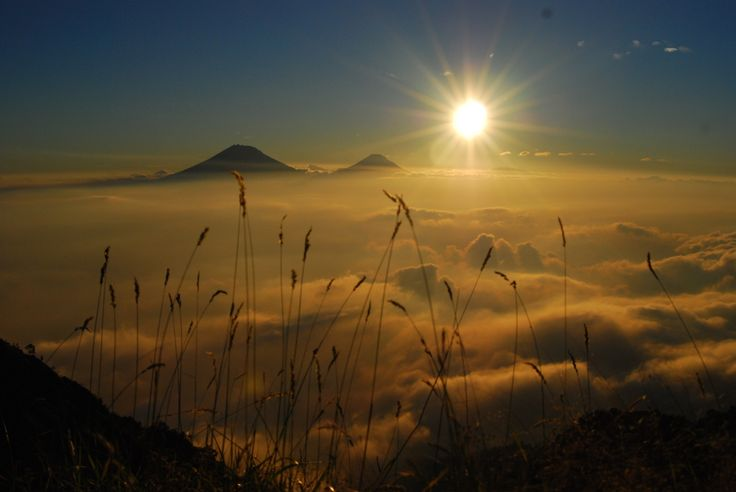 Sunset of SIndoro sumbing from the top of merbabu mountain - Central java