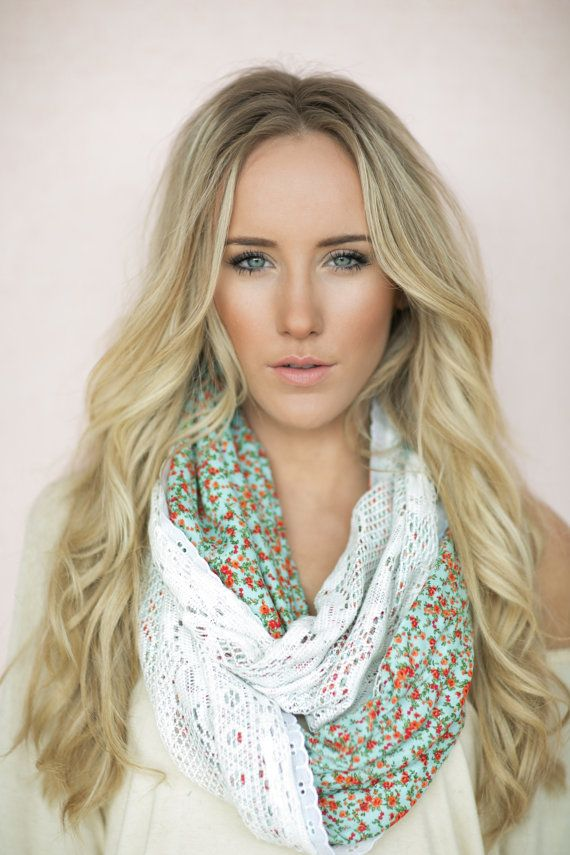 Infinity Scarf Patchwork Lace Cute Scarves Mint by ThreeBirdNest, $68.00