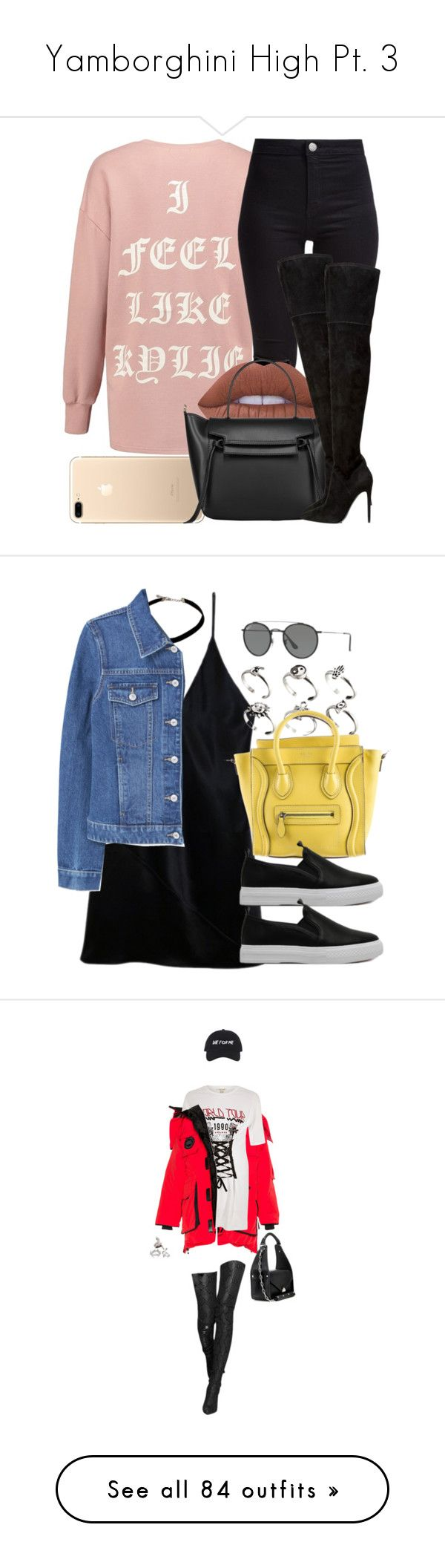 """""""Yamborghini High Pt. 3"""" by rosegoldpersian ❤ liked on Polyvore featuring New Look, Lime Crime, Kendall + Kylie, Fleur du Mal, MANGO, ASOS, CÉLINE, Ray-Ban, Balenciaga and River Island"""