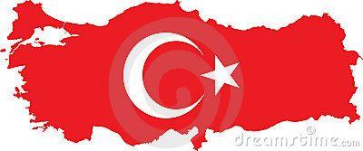 Mapa de Turquia com bandeira turca