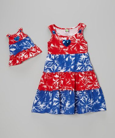 Look at this #zulilyfind! Red & Blue Tie-Dye Dress & Doll Dress - Girls by Dollie & Me #zulilyfinds